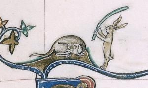 The rabbit's revenge – from the Gorleston Psalter, 14th century